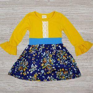Mustard Yellow Navy Floral Bell Sleeve Dress